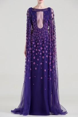 Saiid Kobeisy Embellished Cutout Cape Sleeve Gown