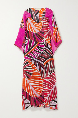 Emilio Pucci Cape-effect Printed Silk-georgette Maxi Dress - Orange