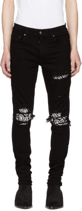 Amiri Black Bandana Crystal Jeans