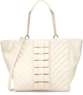 Betsey Johnson Black Tie Affair Quilted Bow Tote Bag, Cream