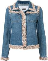 MSGM pearlescent trim denim jacket