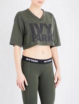 Ivy Park Logo-print cotton-jersey cropped top