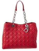 Christian Dior Pink Cannage Quilted Lambskin Leather Large Soft Tote.