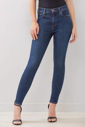 A Gold E Agolde AGOLDE Sophie Skinny Ankle Jean in Prelude Dark Denim 24