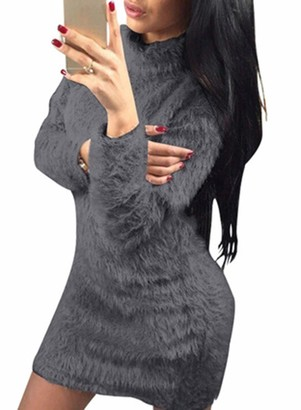 FOBEXISS Women High Neck Sweater Dress Winter Fuzzy Jumper Long Tops Stretchy Fitted Bodycon Club Party Mini Dress Pink
