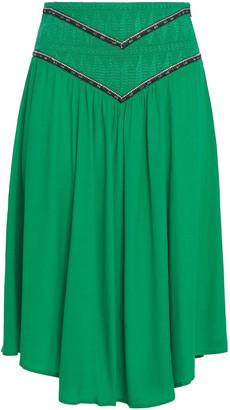 BA&SH Talo Shirred Embroidered Crepe De Chine Skirt