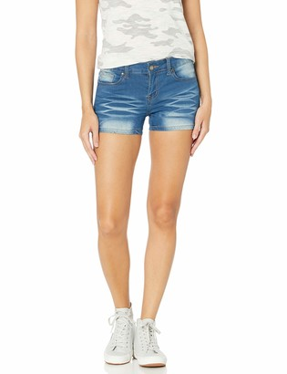 Cover Girl Junior's Cute Jeans Shorts for Teens Mid Rise Waisted Wash