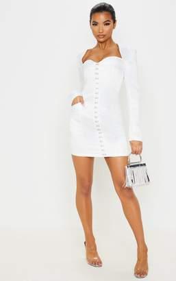 PrettyLittleThing White Satin Hook & Eye Pocket Detail Bodycon Dress