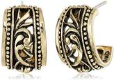 "Barse Basics"" Carved Bronze Hoop Earrings"