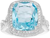 Bliss Aqua & White Cubic Zirconia Halo Ring