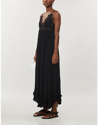 Free People Adella floral-embroidered woven maxi dress