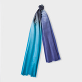 Paul Smith Men's Navy, Purple And Teal Dip-Dye Herringbone Cashmere Scarf