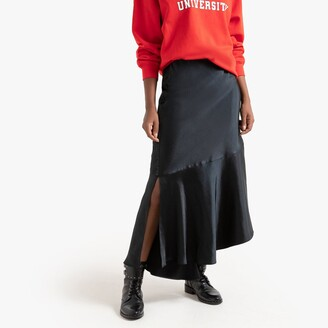 La Redoute Collections Asymmetrical Maxi Slip Skirt in Satin with Ruffled Hem