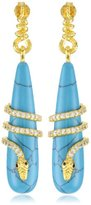 Azaara Static 22k Yellow Gold-Dipped Sterling Silver, Turquoise, and Cubic Zirconia Snake Earrings