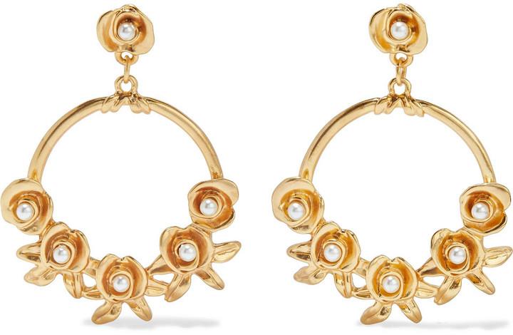 Kenneth Jay Lane 24-karat Gold-plated Faux Pearl Earrings