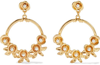 Kenneth Jay Lane 24-karat Gold-plated Faux Pearl Earrings