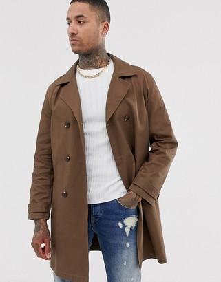 Asos Design DESIGN double breasted linen look trench coat-Brown