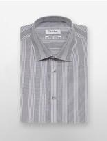 Calvin Klein Regular Fit Grey Grid Plaid Dress Shirt