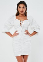Missguided White Poplin Lace Up Puff Sleeve Mini Dress