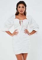 Missguided Poplin Lace Up Puff Sleeve Mini Dress