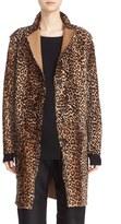 Sofie D'hoore Women's Reversible Leopard Print Genuine Shearling Coat