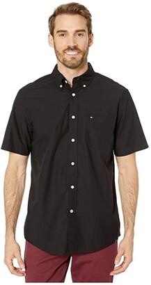 Tommy Hilfiger Maxwell Short Sleeve Button Down Shirt (Deep Knit Black) Men's Clothing