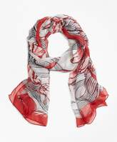 Brooks Brothers Silk-Chiffon Tulip Oblong Scarf