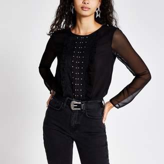 River Island Womens Black long sheer sleeve frill front bodysuit