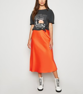 New Look Bias Cut Satin Midi Skirt