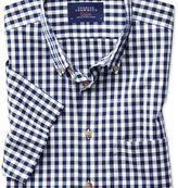 Charles Tyrwhitt Slim fit button-down non-iron poplin short sleeve navy blue gingham shirt