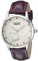 Burgi Women's BUR149BK Silver Quartz Watch With Black Swarovski Crystal Accented Dial and Black Embossed Leather Strap