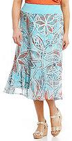 Multiples Plus Pull-On Printed Flounce Hem Skirt