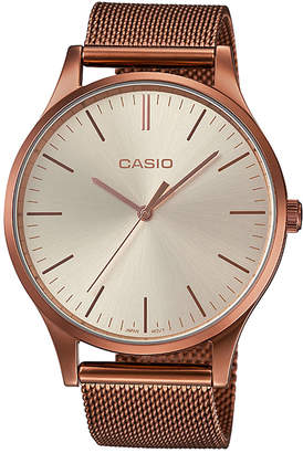 Casio Women Copper-Tone Stainless Steel Mesh Watch 38mm