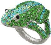 Things2Die4 Silvertone Rhinestone Encrusted Frog Hinged Bangle Bracelet