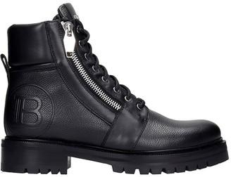 Balmain Ranger Combat Boots In Black Leather
