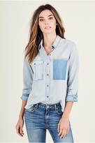 True Religion Patched Chambray Womens Shirt