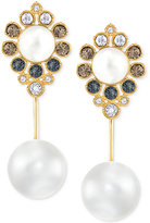 Swarovski Gold-Tone Imitation Pearl and Crystal Drop Earrings