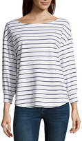 Liz Claiborne Long Sleeve U Neck Stripe Blouse-Tall