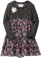 Hannah Banana Baby Doll Sweater Dress With Flower Trim (Little Girls)