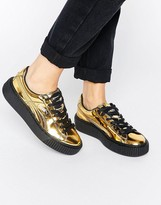 Puma Classic Platform Sneakers In Shiny Gold