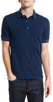 Tom Ford Short-Sleeve Pique Oxford Polo Shirt, Blue