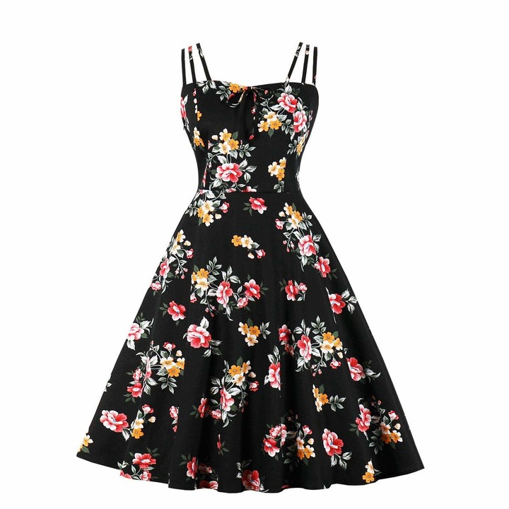 Women Summer Floral Tiered Midi Dress Party Strap Flared Casual Holiday Sundress
