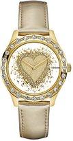 GUESS Gold-Tone Glitter Heart Watch