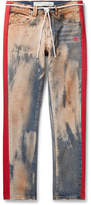 Off White Slim-Fit Striped Bleached Denim Jeans