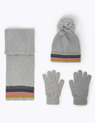 Marks and Spencer Kids Rainbow Trim Hat, Scarf & Gloves Set (3-14 Years)