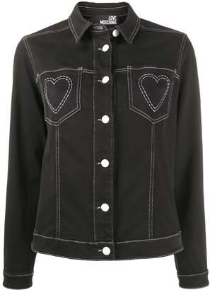 Love Moschino Heart Embroidered Denim Jacket
