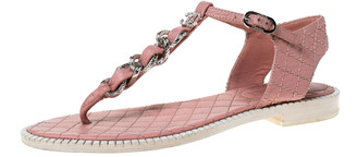 Chanel Light Pink Leather Chain Detail CC Thong Flat Sandals Size 37