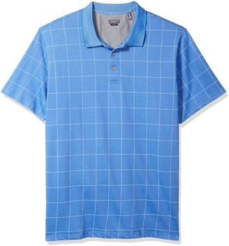 Van Heusen Men's Size Fit Flex Short Sleeve Stretch Windowpane Polo Shirt