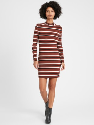 Banana Republic Stretch-Cotton Turtleneck Sweater Dress