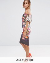 Asos Deep Fold Off The Shoulder Floral Midi Dress